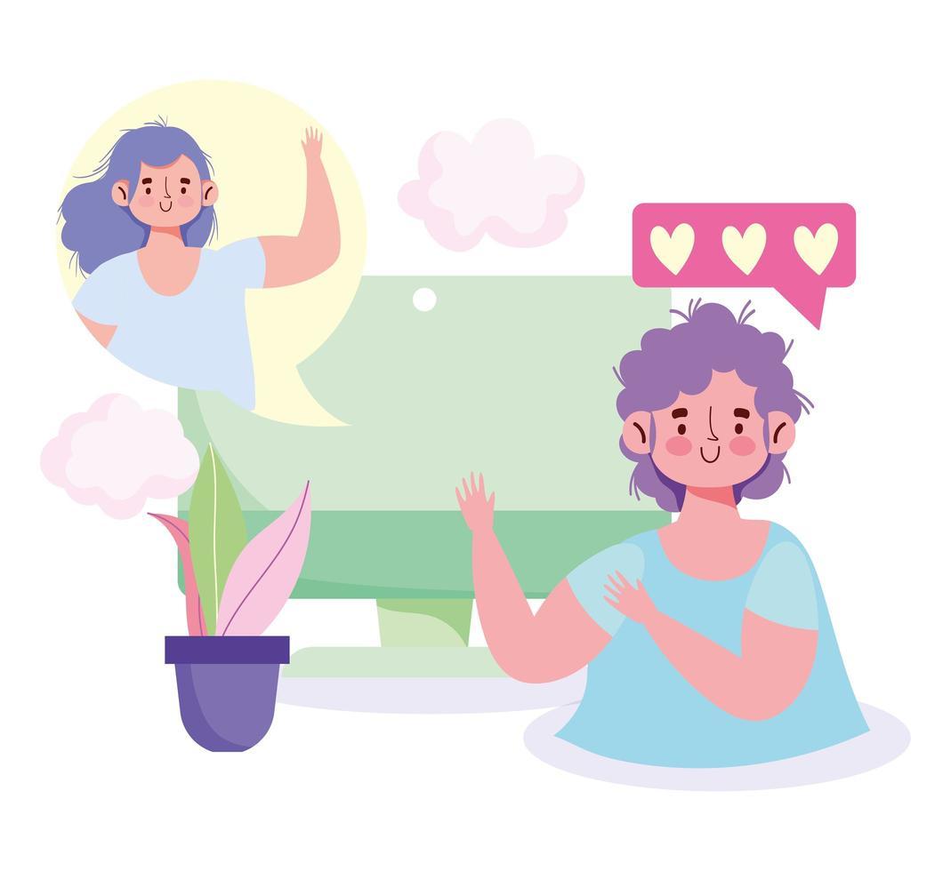 computadora de niño y niña hablando virtualmente vector