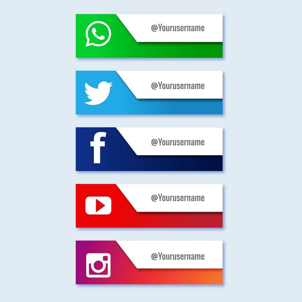 conjunto de colección de banner de tercer tercio inferior de redes sociales vector