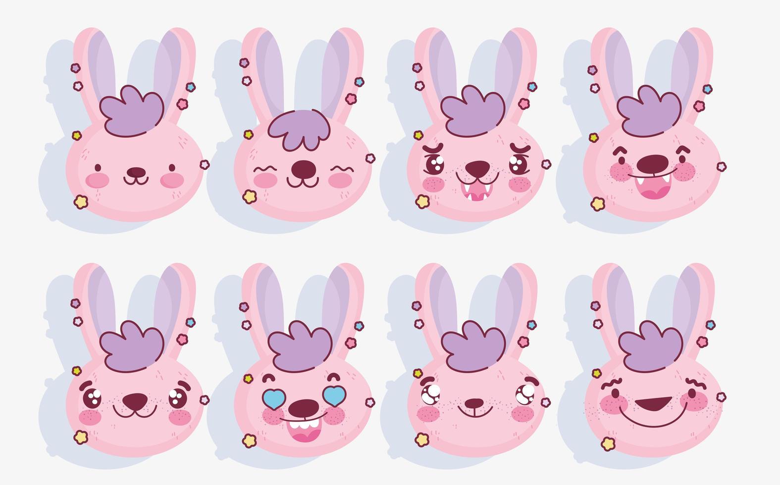 pack emoji lapin rose vecteur