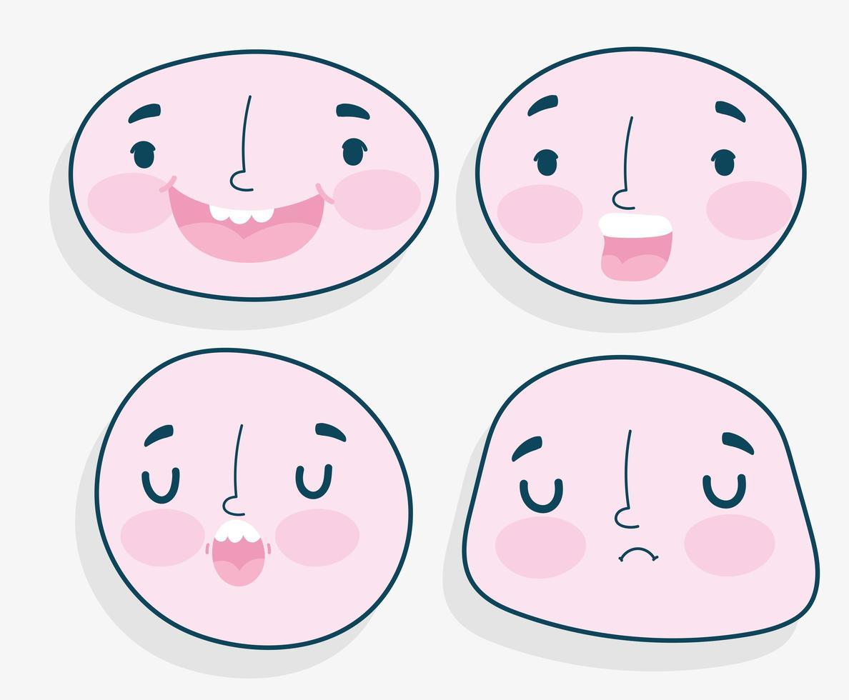 ensemble d'émotions de visages humains vecteur