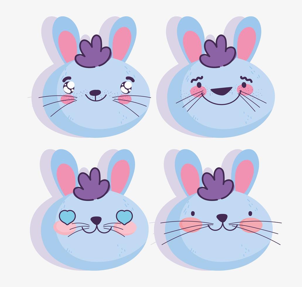ensemble d'emojis de lapin bleu vecteur