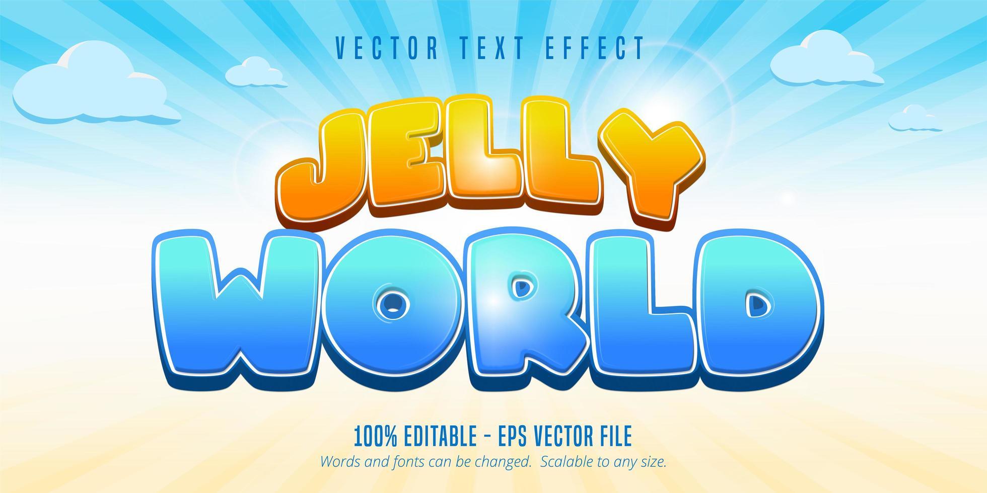 efecto de texto de burbuja mundo jalea vector