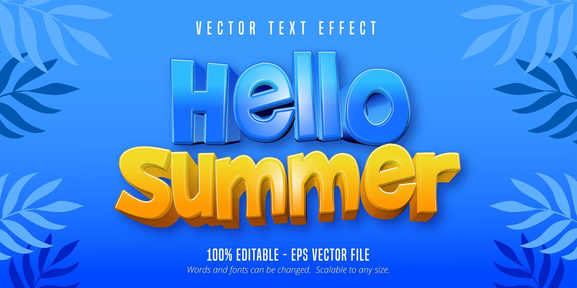 Hola texto de verano, efecto de texto editable de estilo de dibujos animados vector