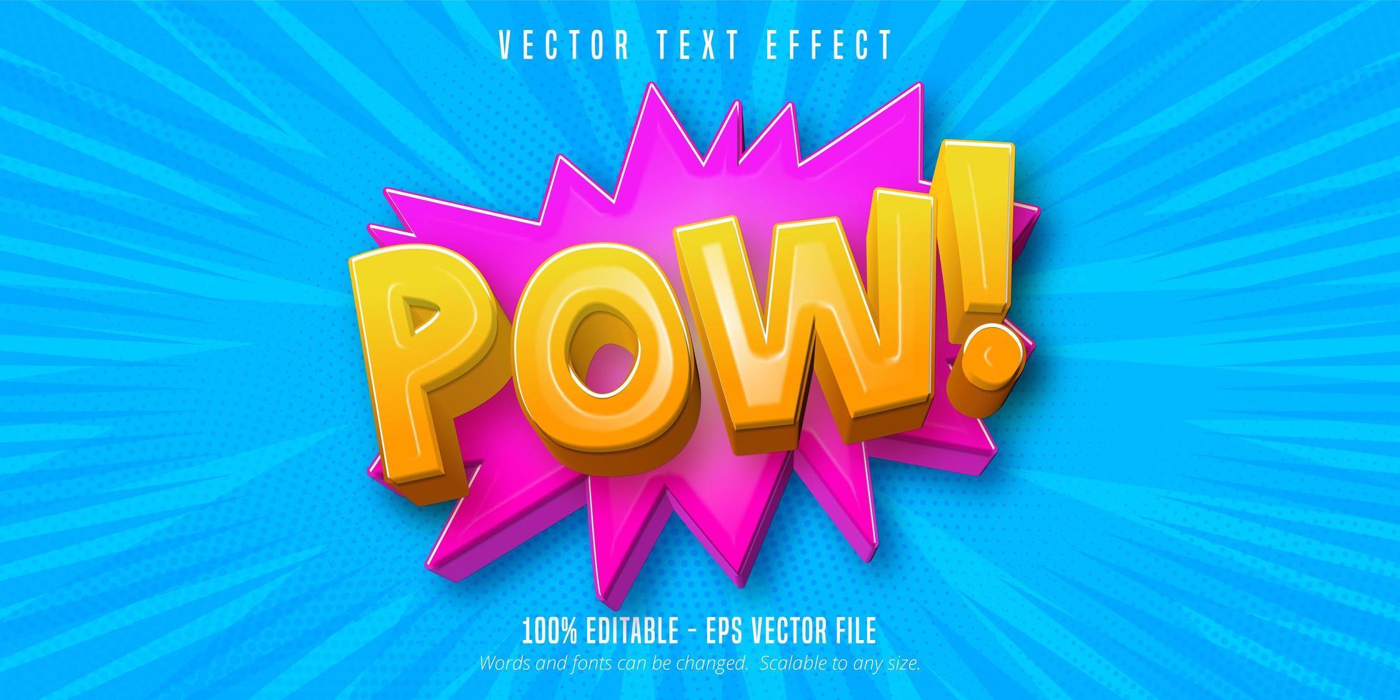 Pow text comic style  vector