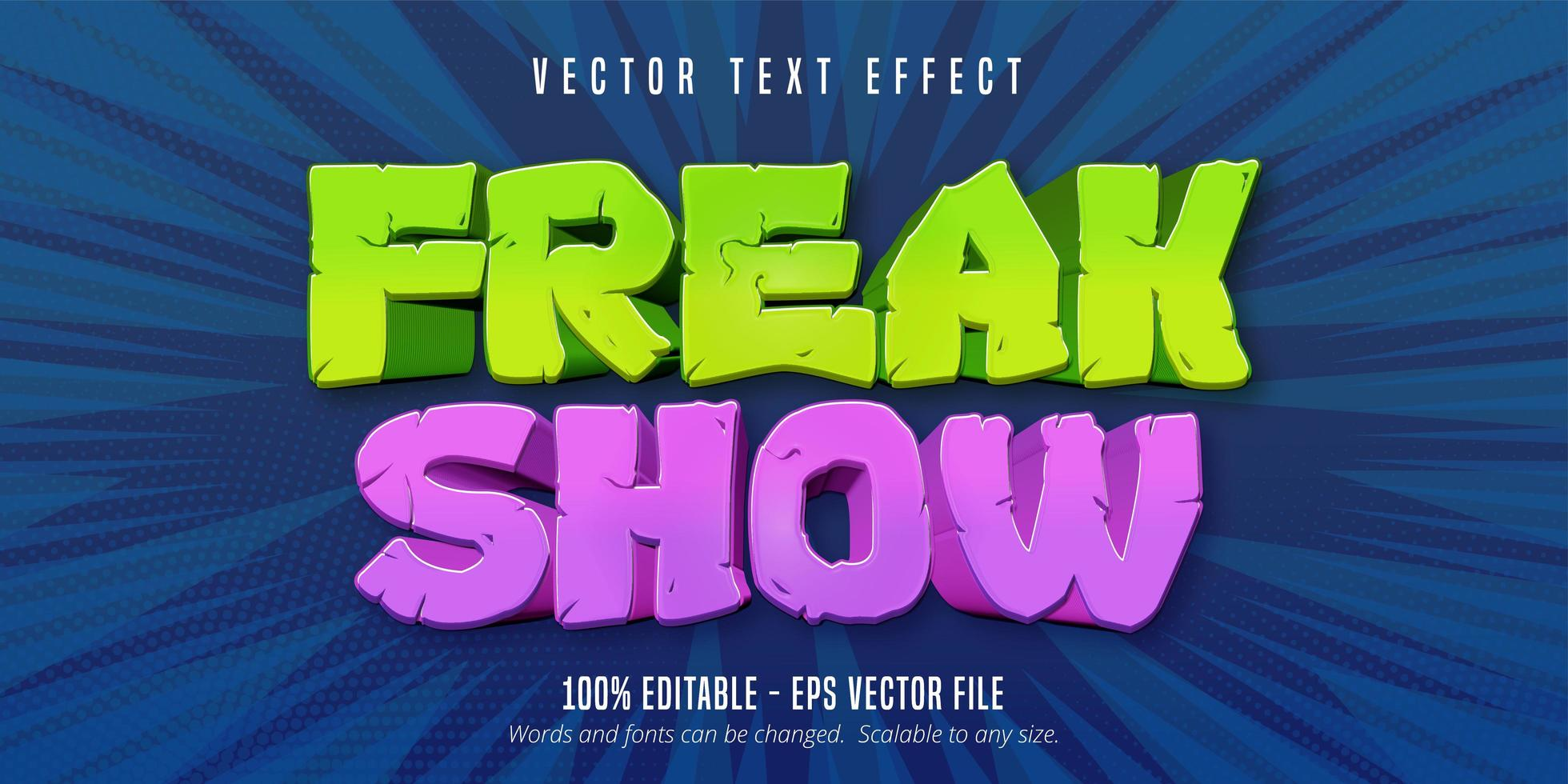 Freak show text with grunge texture  vector