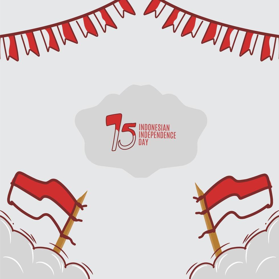 conception dessinée à la main de la fête de l'indépendance indonésienne vecteur