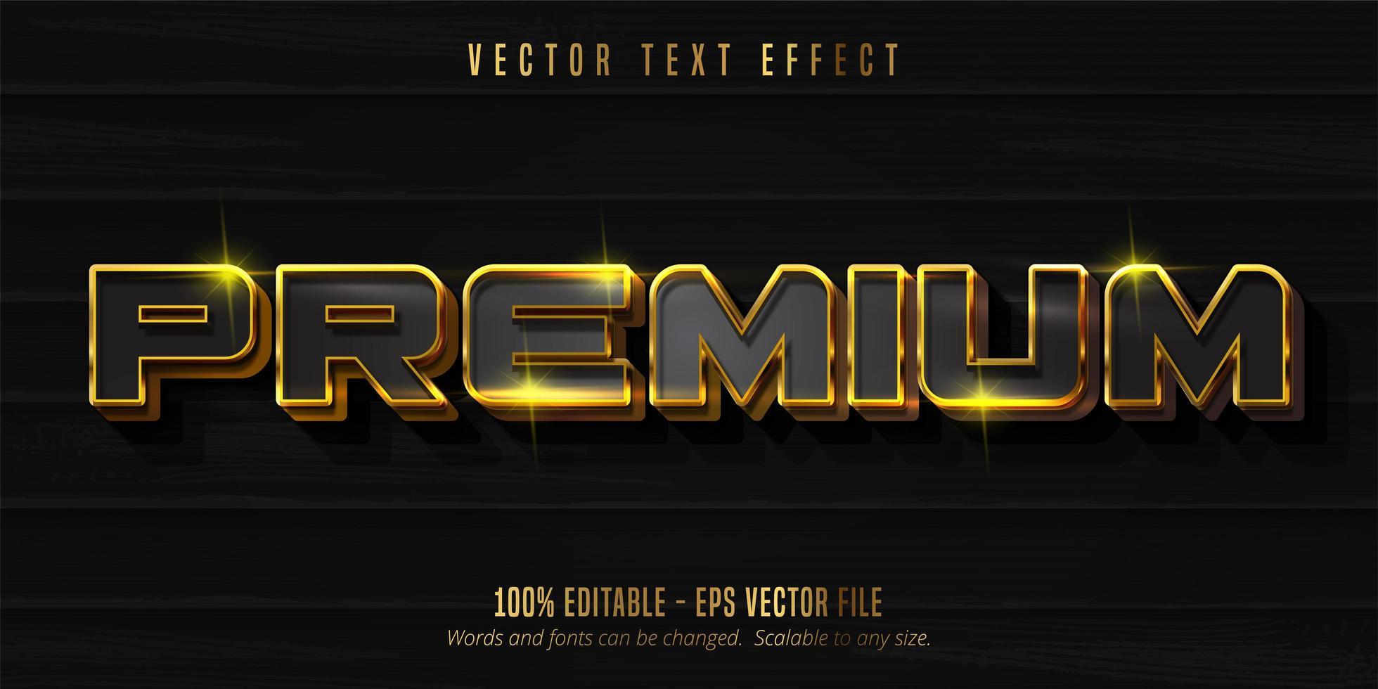 texto premium negro y dorado brillante vector