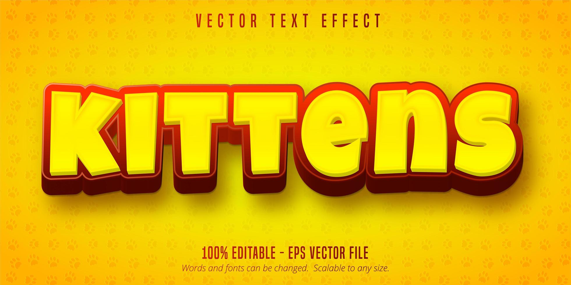 Yellow and red kittens text vector