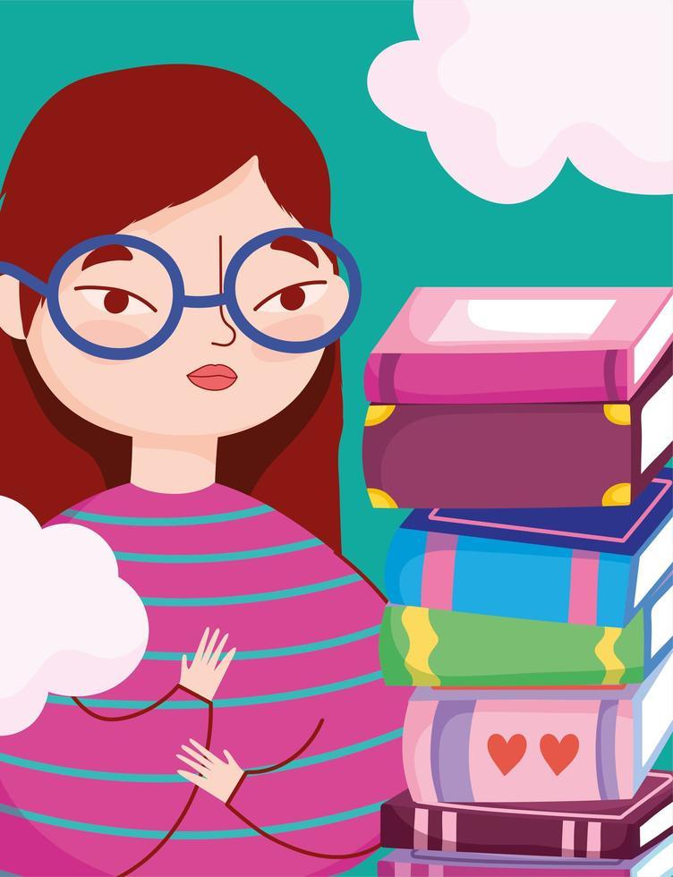 Adolescente con una pila de libros y nubes vector