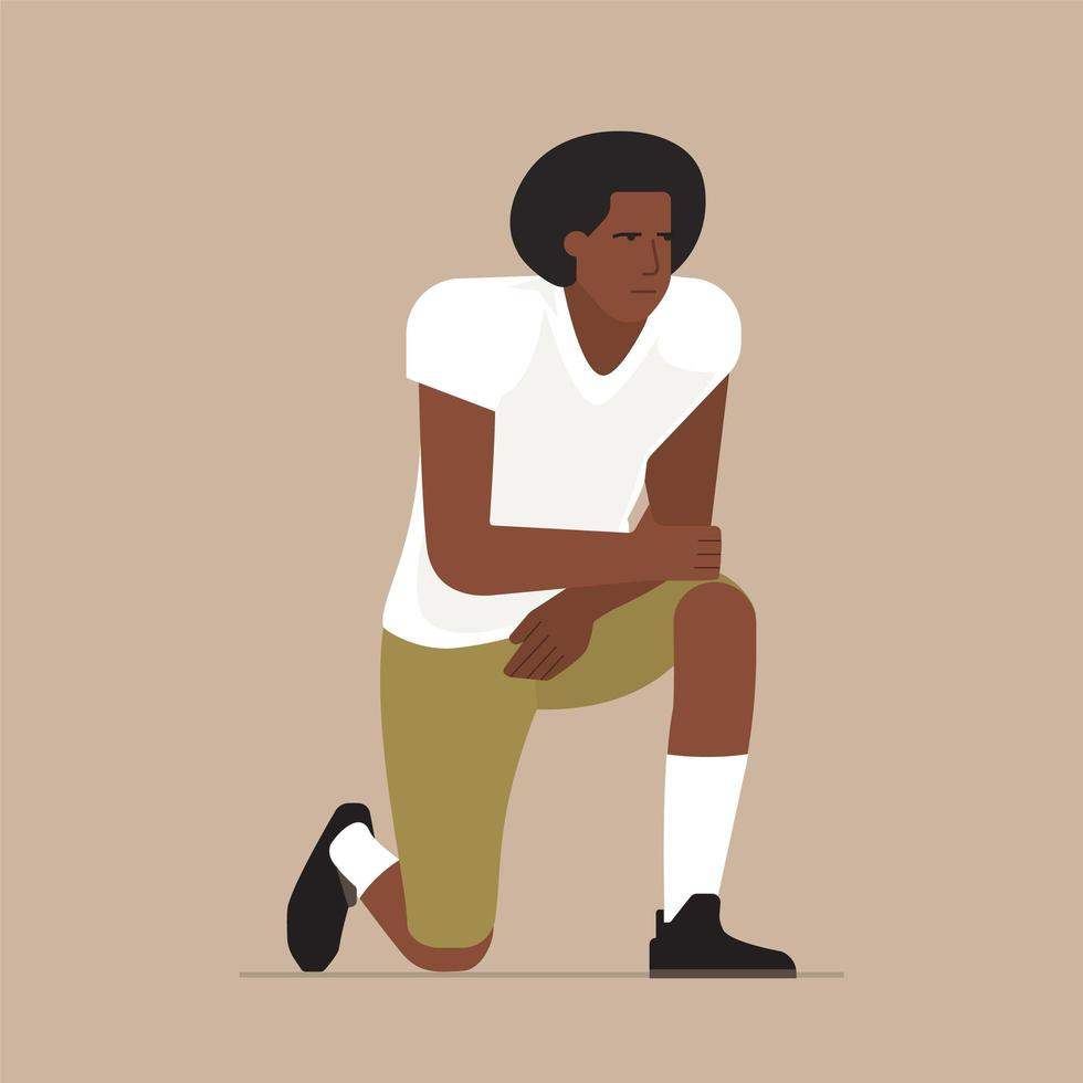 Black Sportsman Take A Knee Pose vector