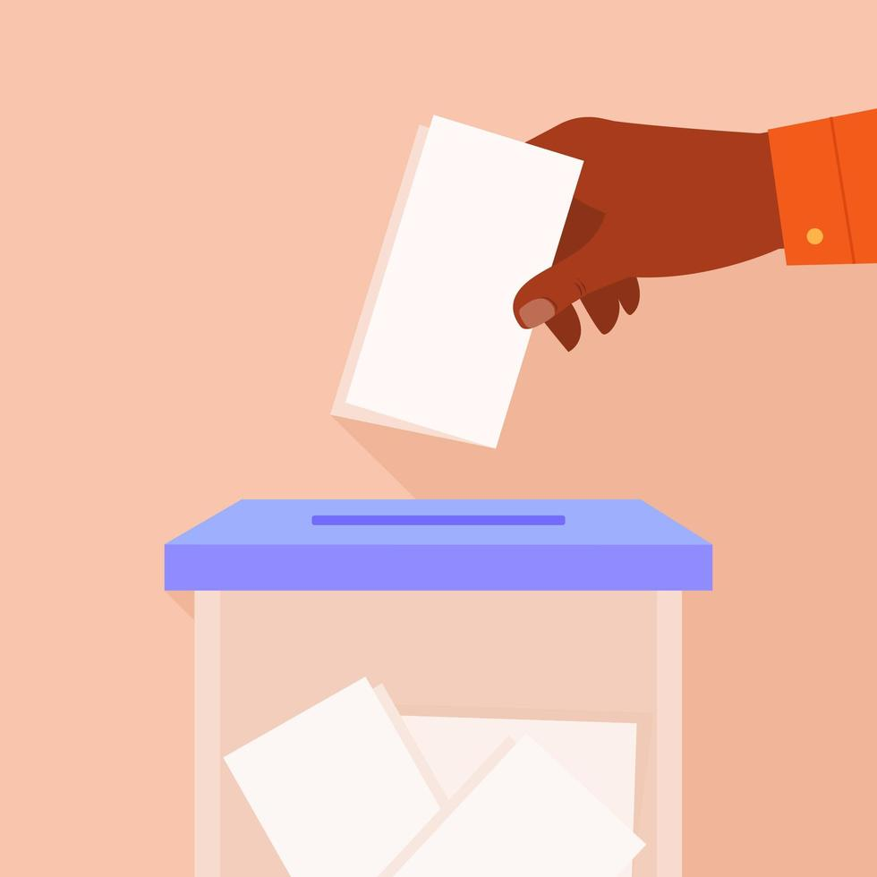 Male Hand Putting Voting Paper in Ballot Box vector