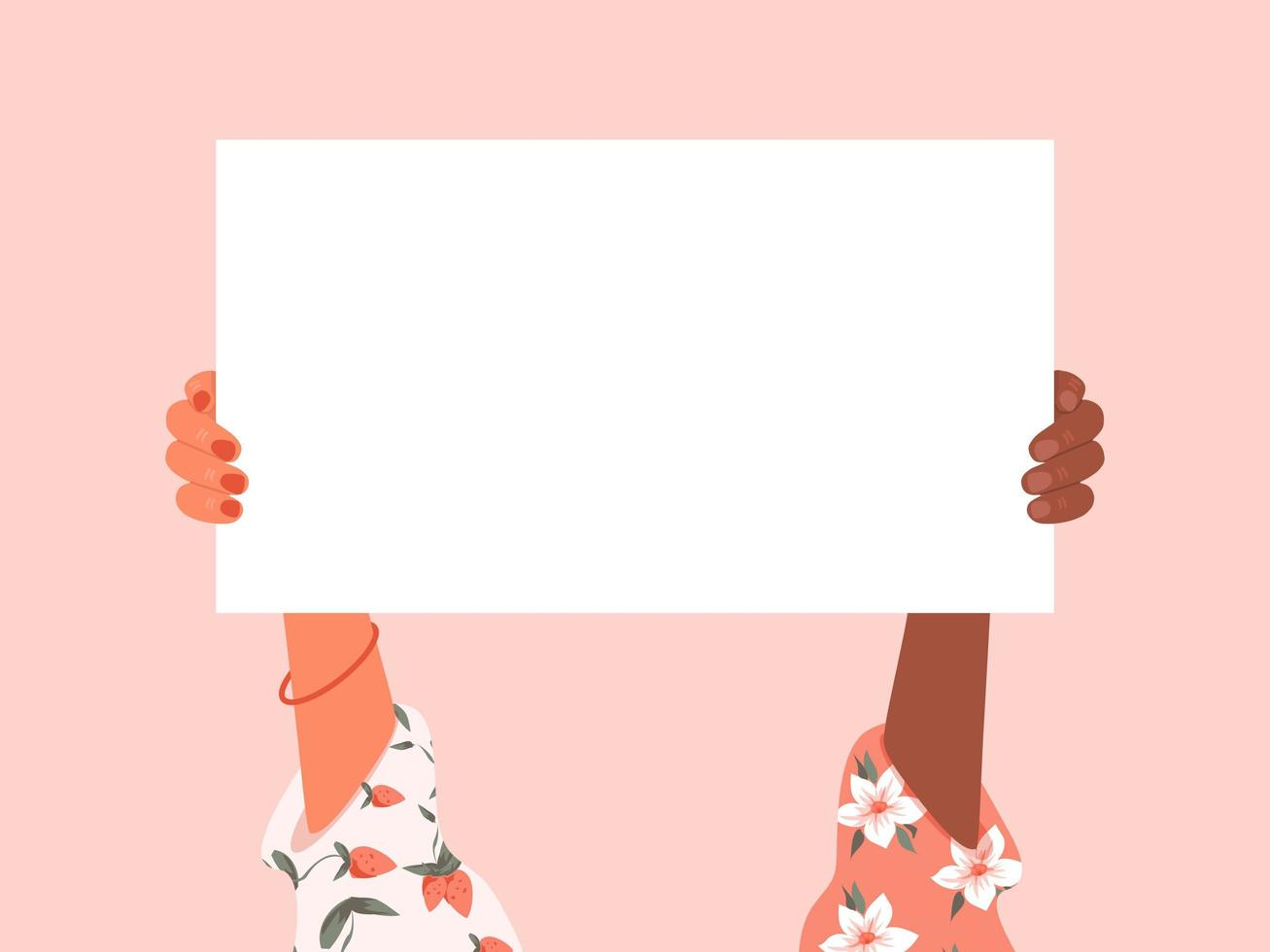 Multiracial Female Hands Holding Placard vector