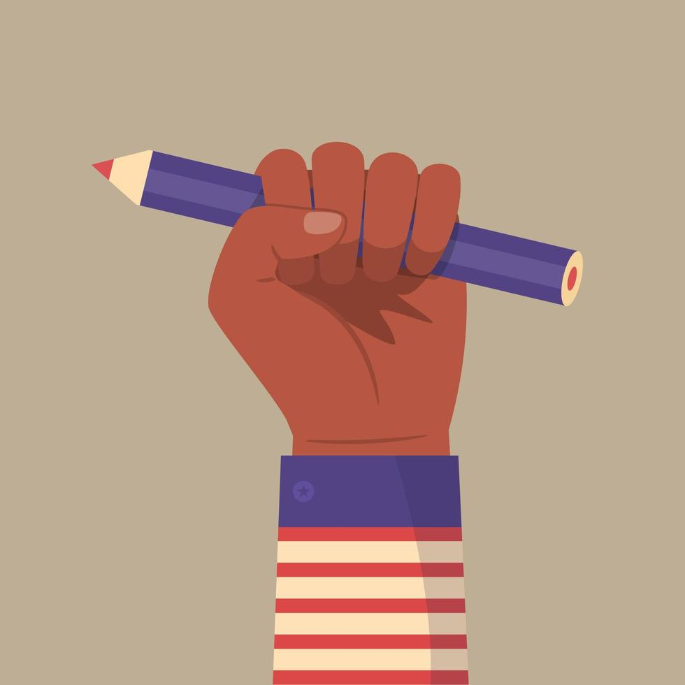 Raised Black Fist Holding a Pencil vector