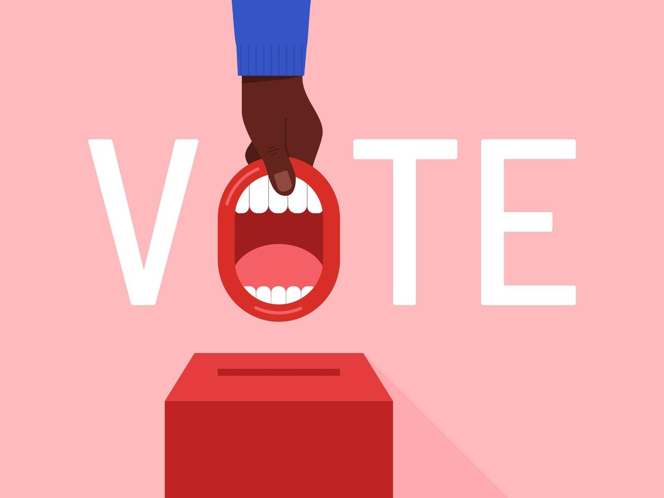 Vote Lettering with Hand and Open Mouth vector
