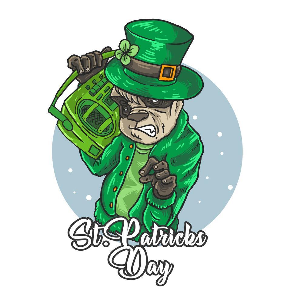St Patrick's Day panda DJ vector