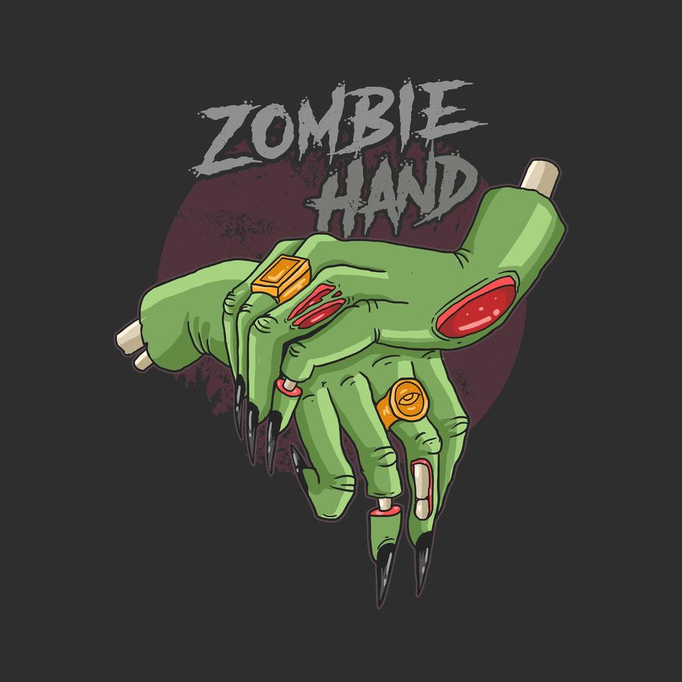 Zombie hands and text  vector