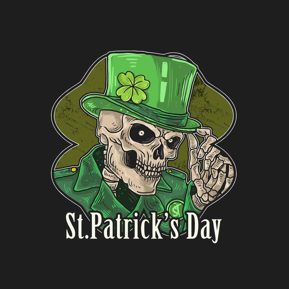 Saint Patrick's Day skeleton in green hat vector
