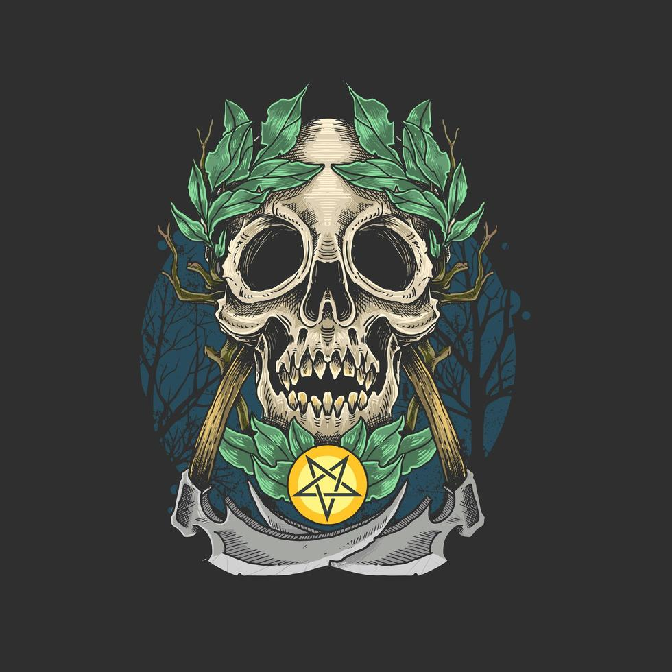 Dead skull with leaf crown vector