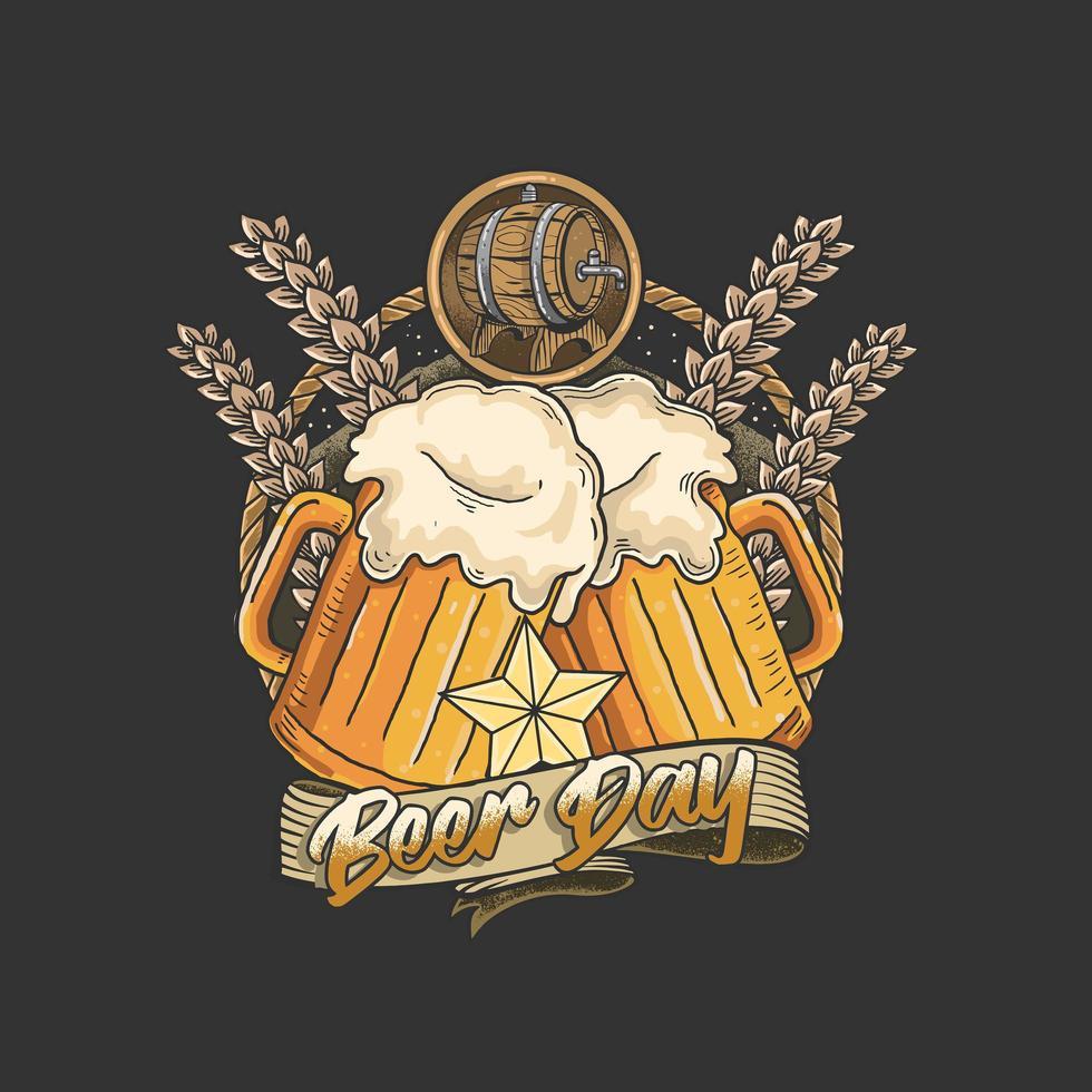 emblema del día de la cerveza con dos tazas vector