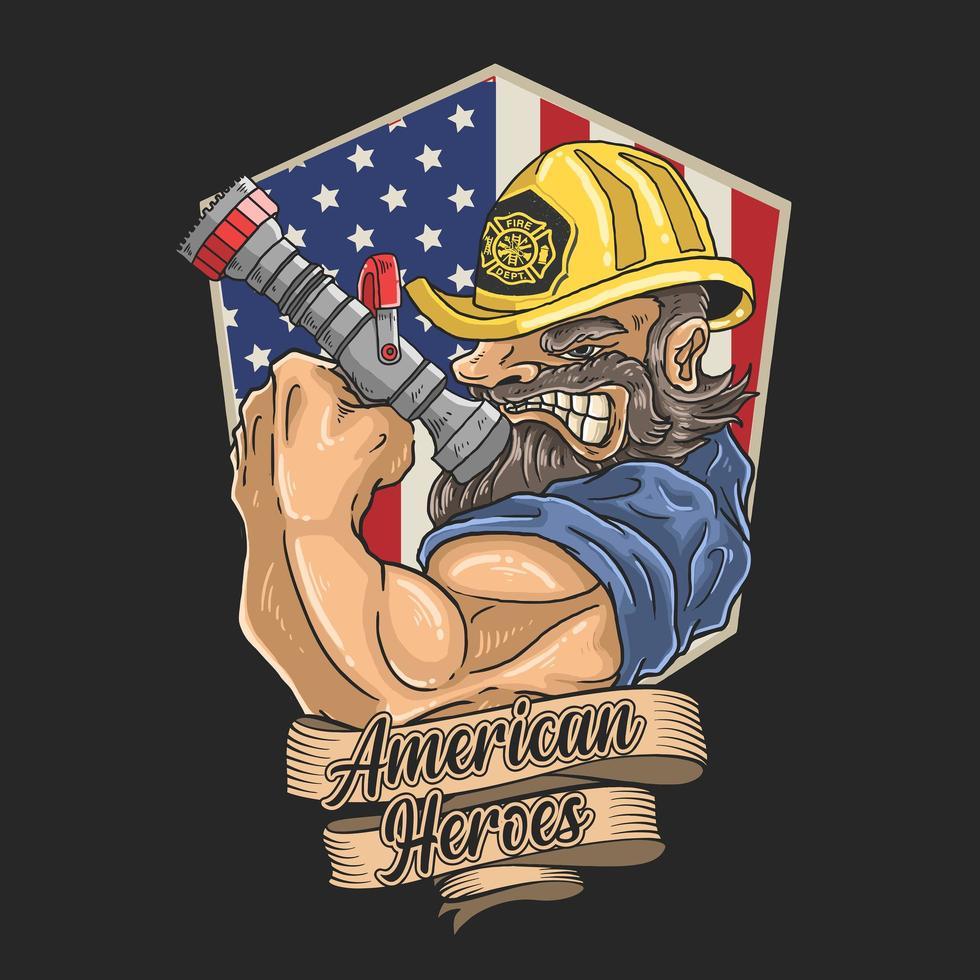 bombero en emblema de la bandera americana con banner vector