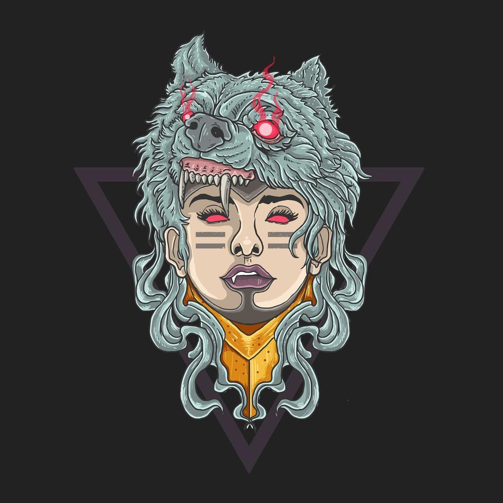 femme soldat avec tête de loup vecteur