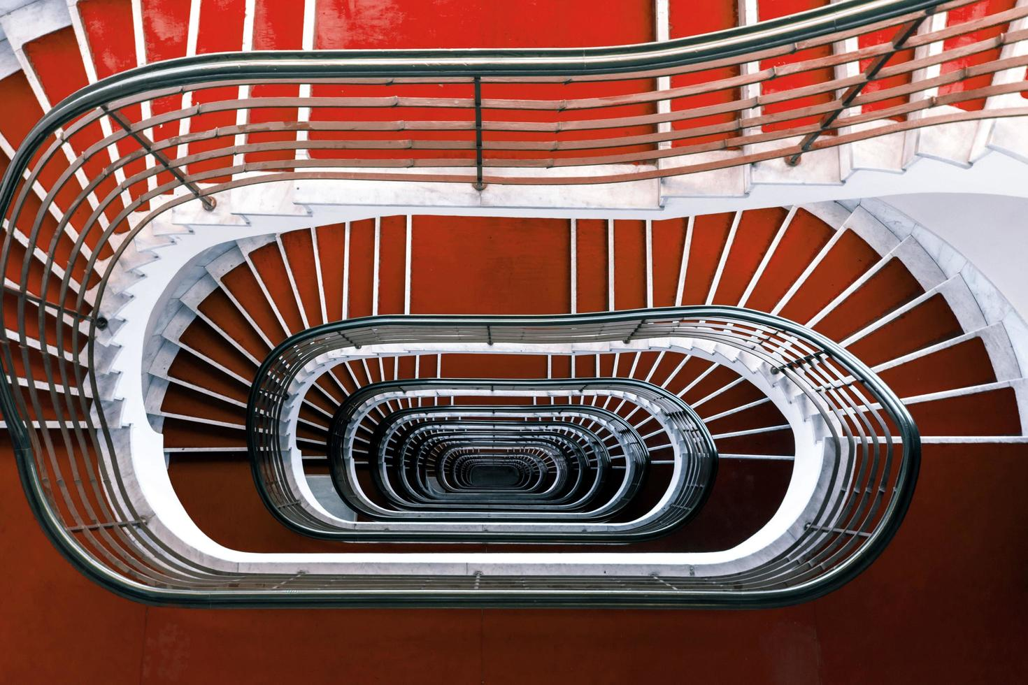 Red staircase view photo