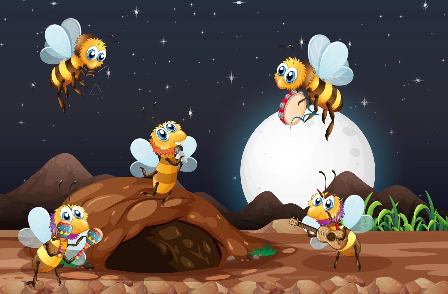 cena noturna com abelhas voando no jardim vetor