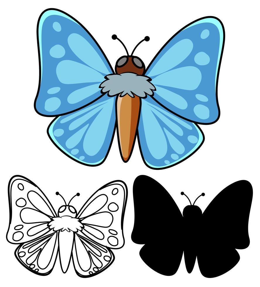 conjunto de dibujos animados de mariposas vector
