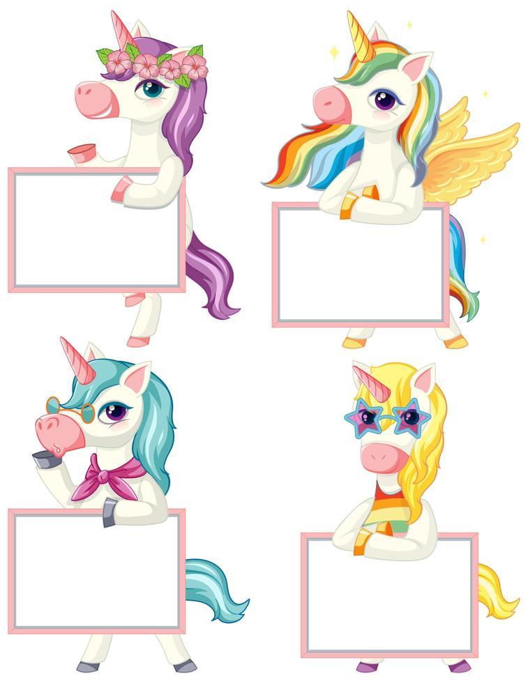conjunto de unicornios sosteniendo pancarta en blanco vector