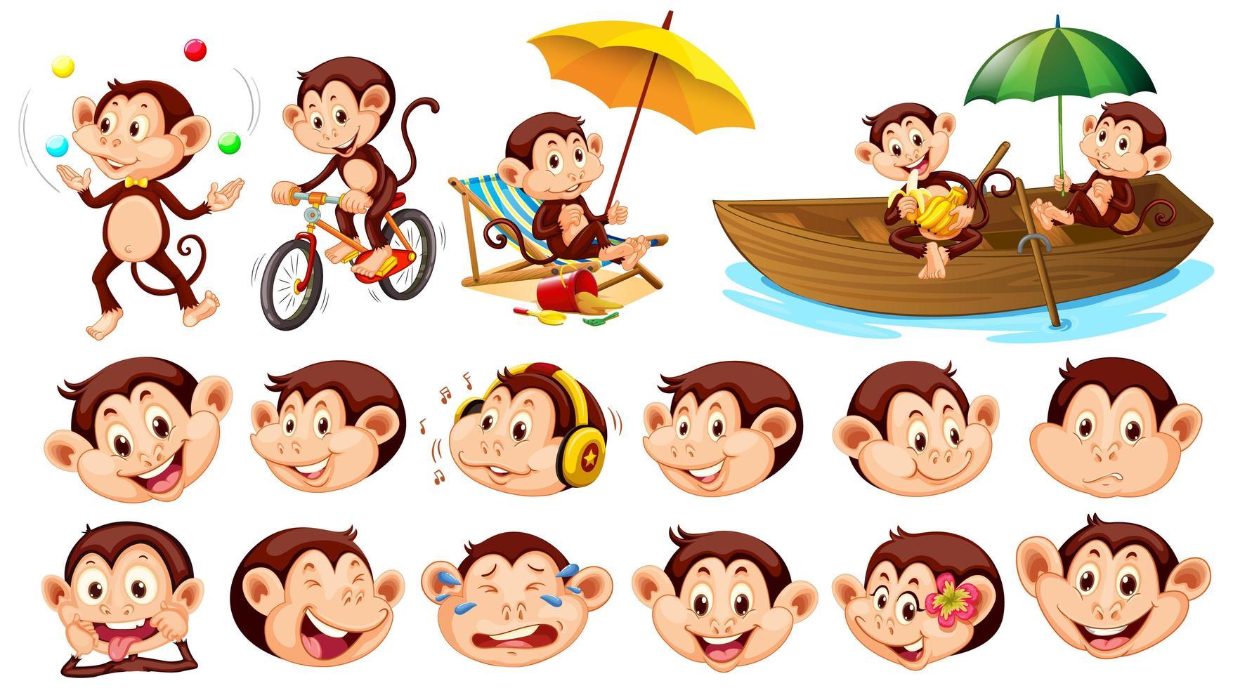 conjunto de monos con diferentes expresiones faciales aisladas vector
