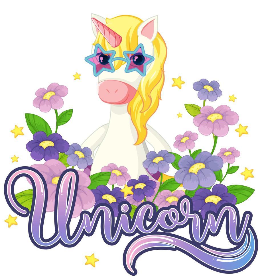 unicornio con flores moradas vector