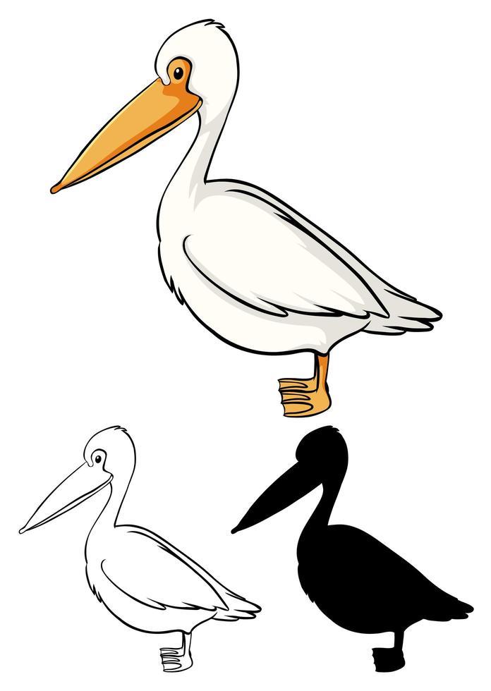 Set of pelican cartoon vector