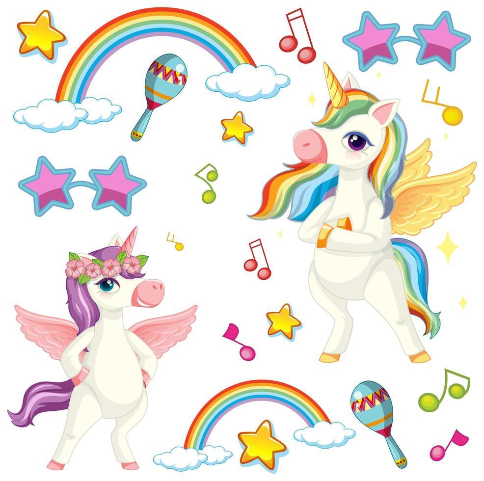 Cute unicorns with musical theme vector