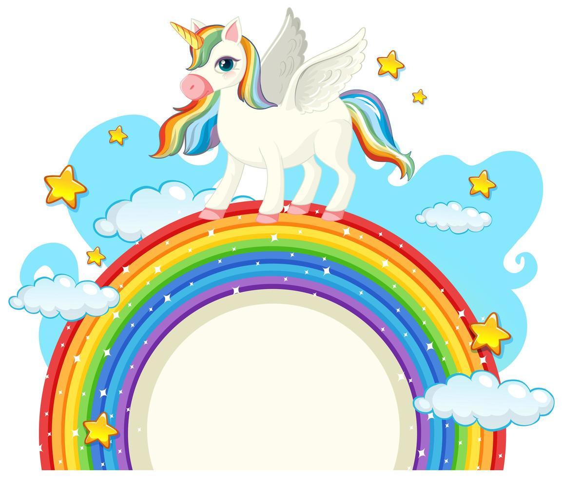 lindo unicornio con banner en blanco vector