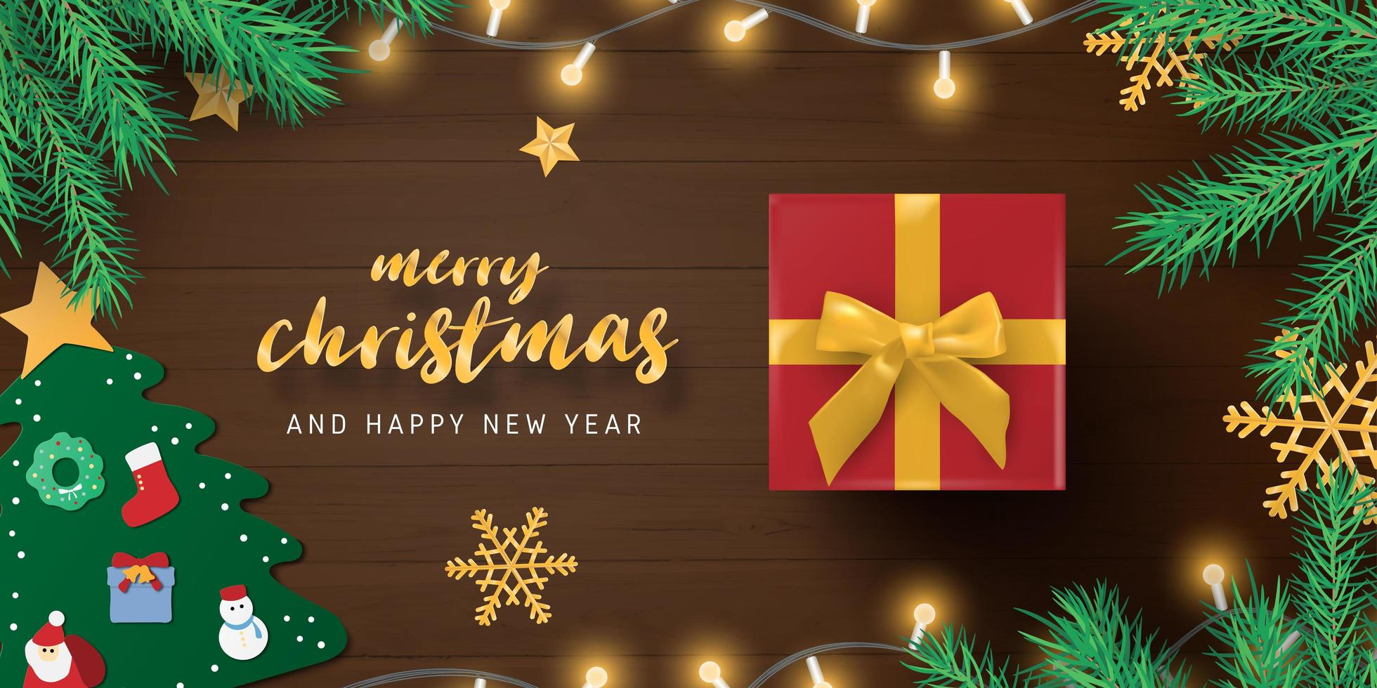 Merry Christmas gift and decorations on wood vector