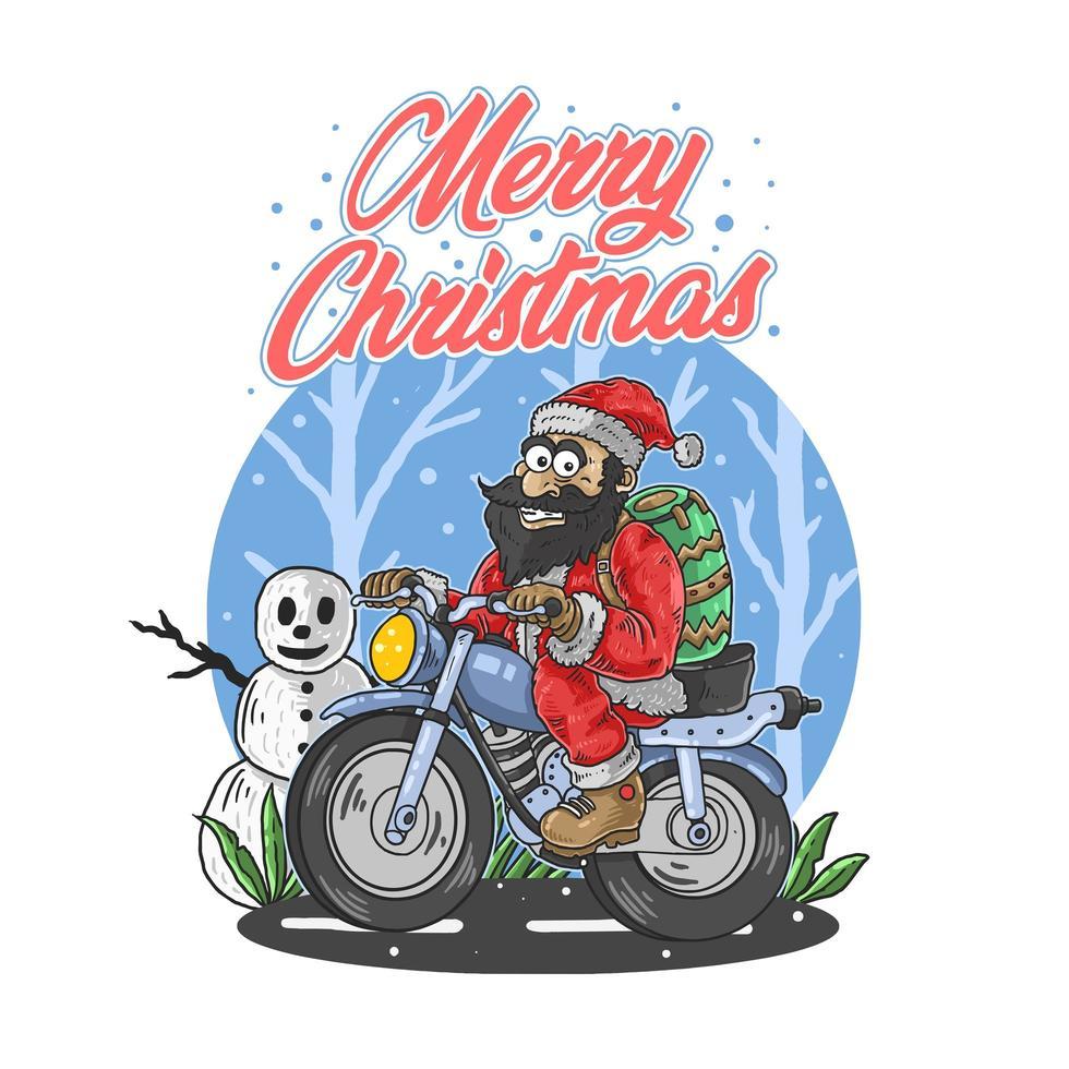 Feliz Navidad texto con santa claus en moto vector