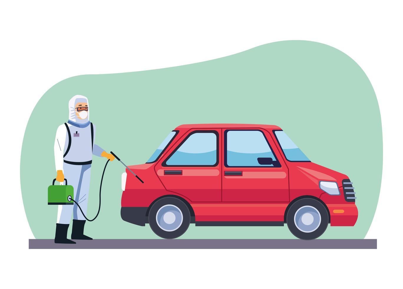 trabajador de bioseguridad desinfectar coche covid-19 vector