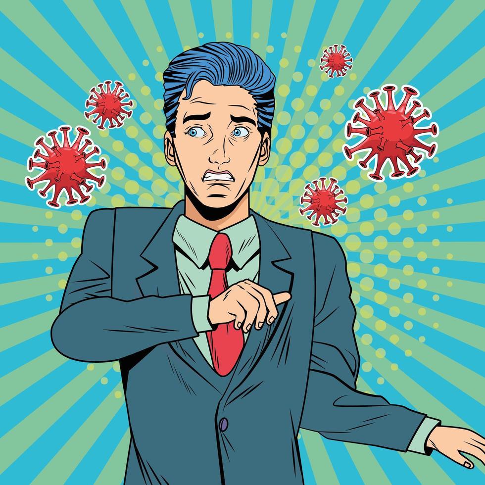 hombre con estilo pop art covid-19 partículas vector