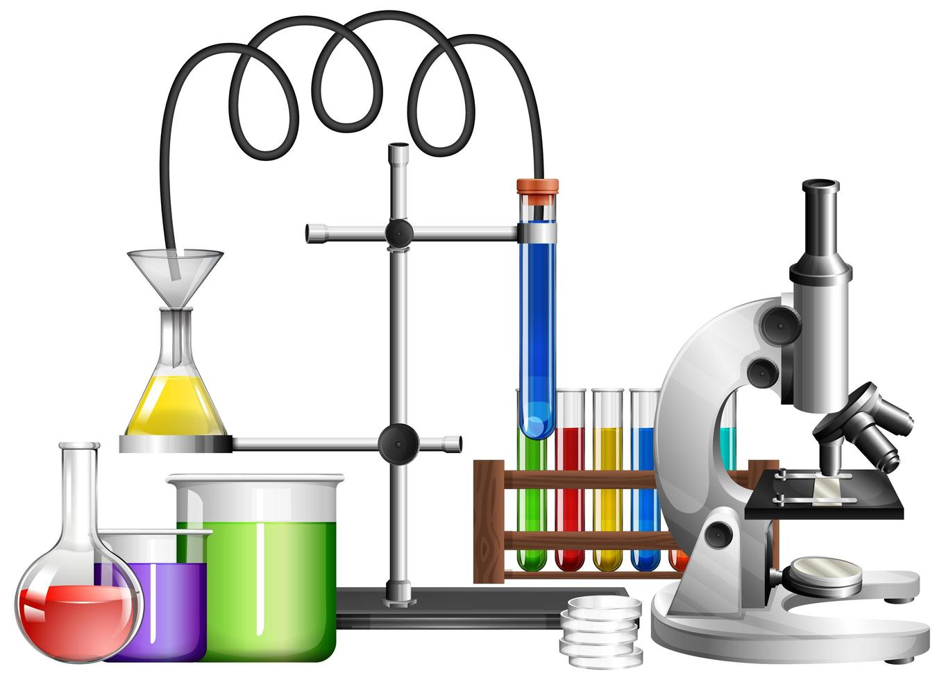 Science equipments on white background vector
