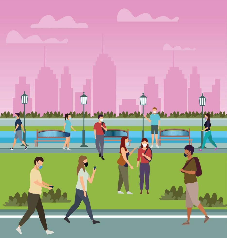 Group of People Using Medical Masks in the Park vector