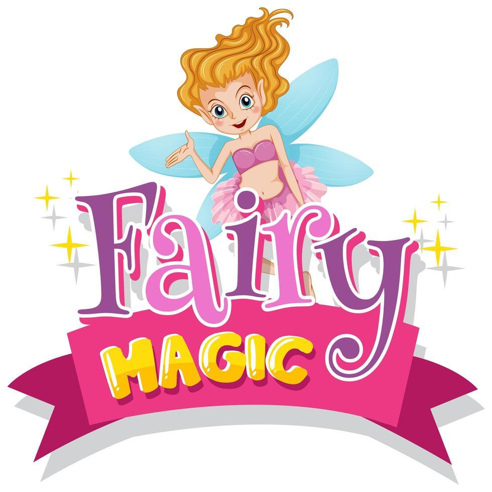 diseño tipográfico rosa para la palabra hada mágica con hada volando vector