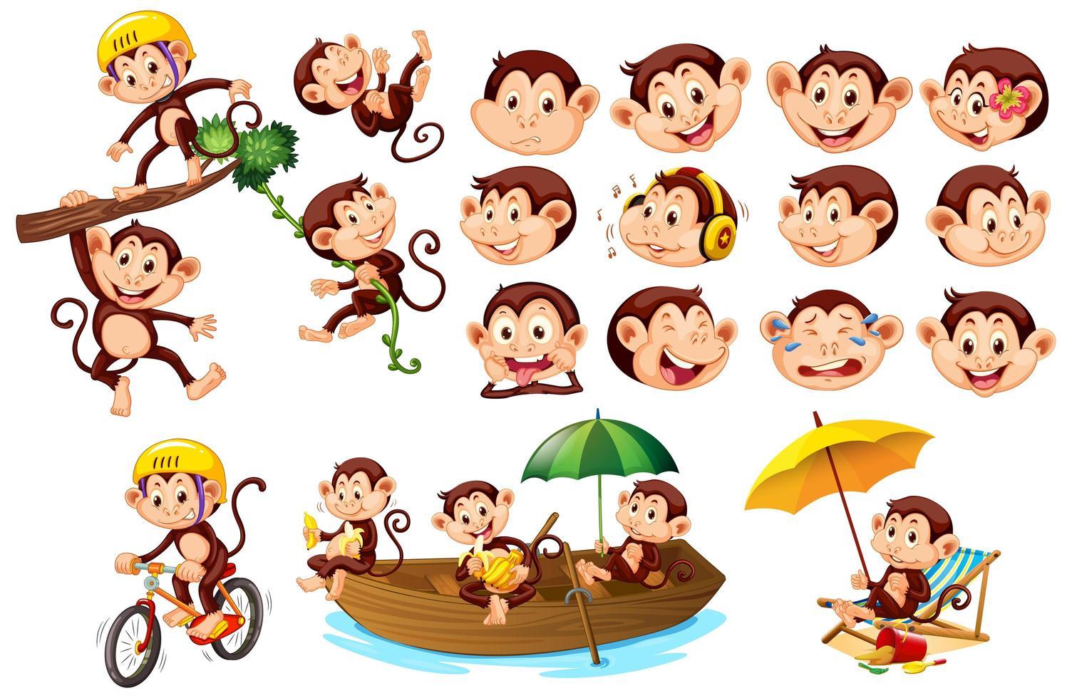conjunto de monos lindos con diferentes expresiones faciales vector