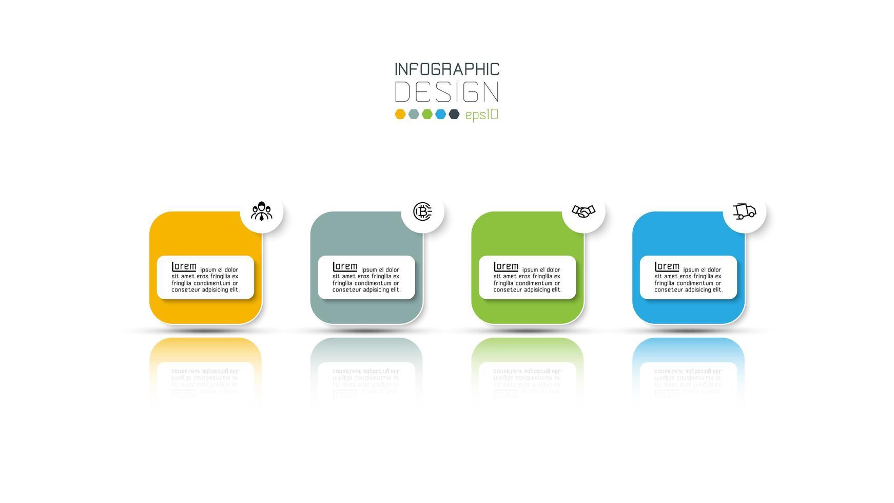 projeto de infográfico de negócios de quatro etapas vetor