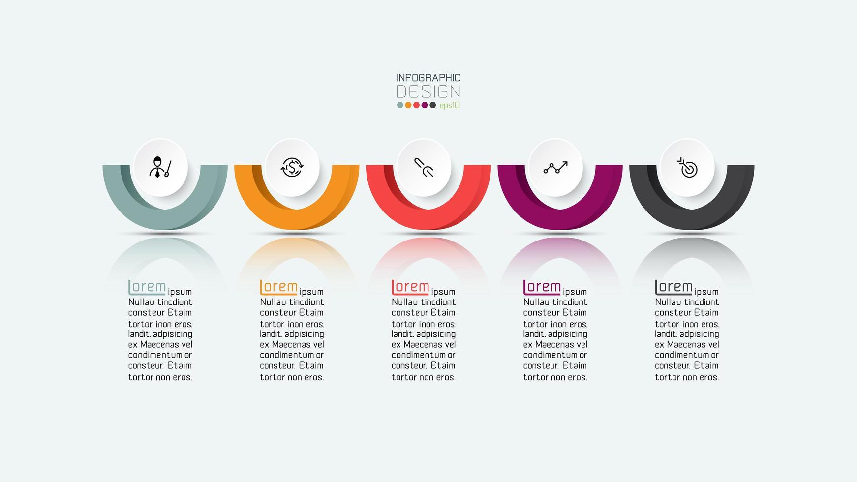 Diseño de infografía de negocios de pasos de semicírculo vector