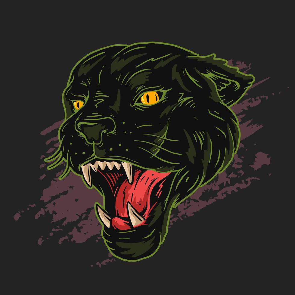 Black poanther head outlined in green vector