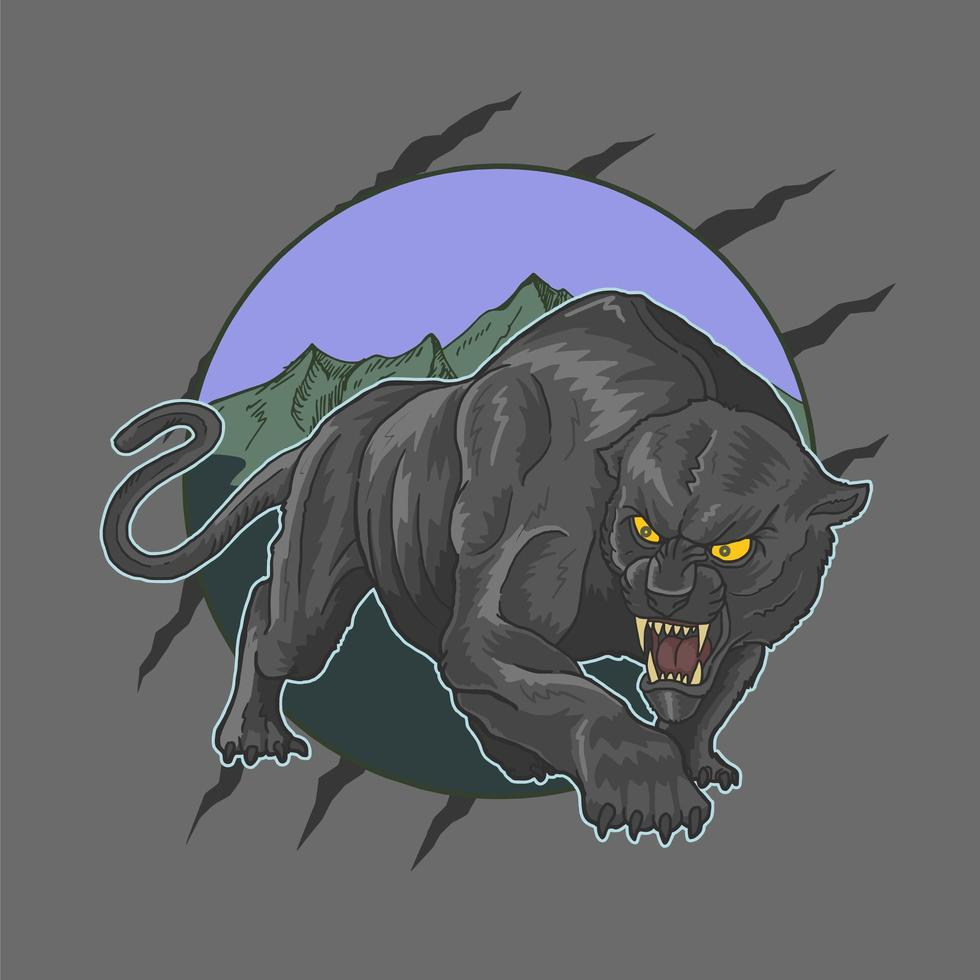 Wild angry panther design vector