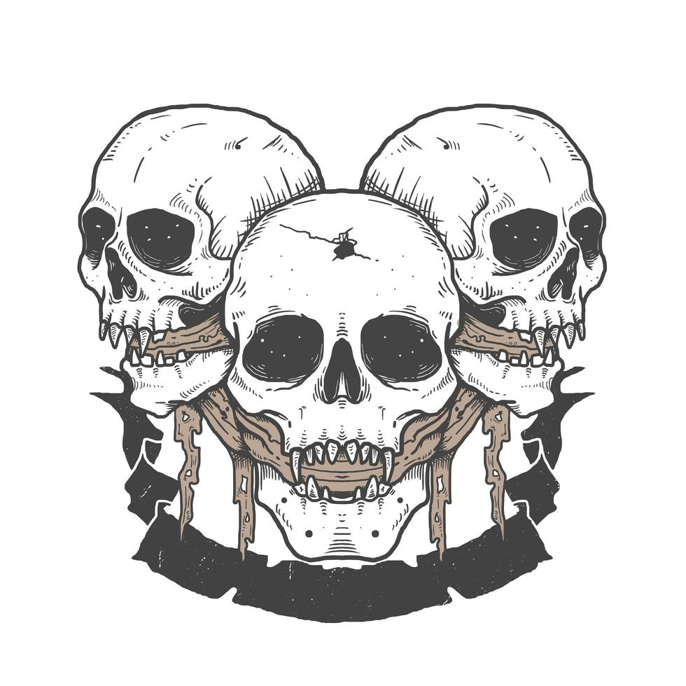 Halloween skulls with fabric in mouth and banner vector