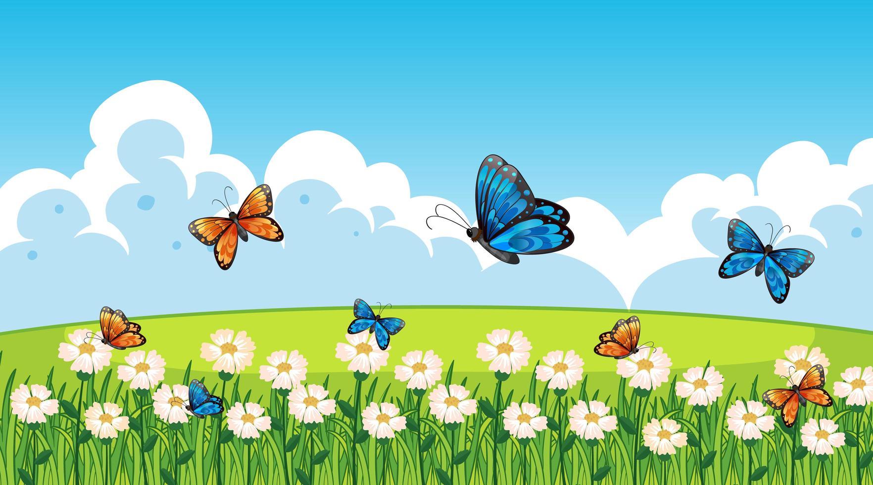 escena de la naturaleza con mariposas vector