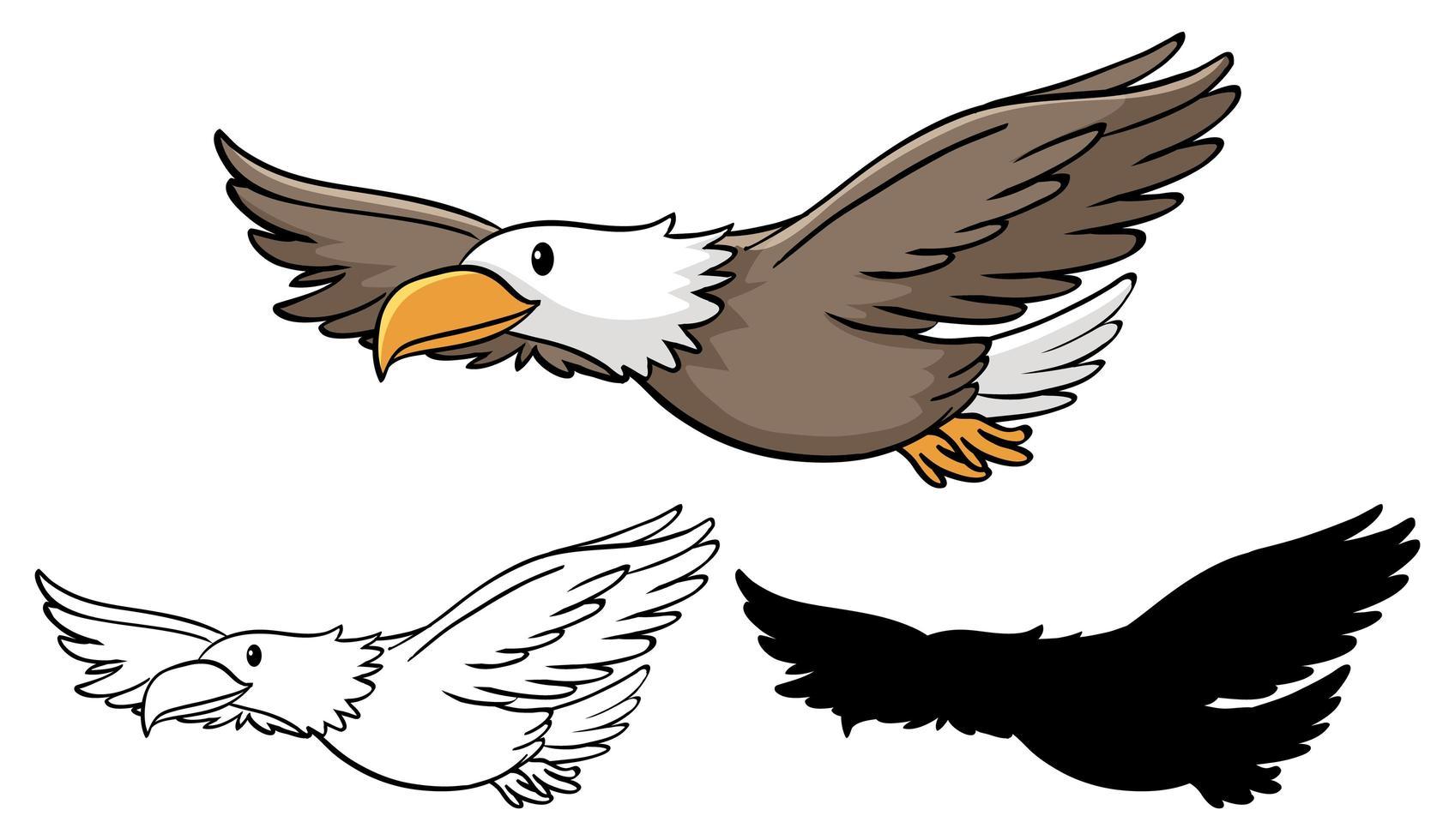 conjunto de dibujos animados de águila vector