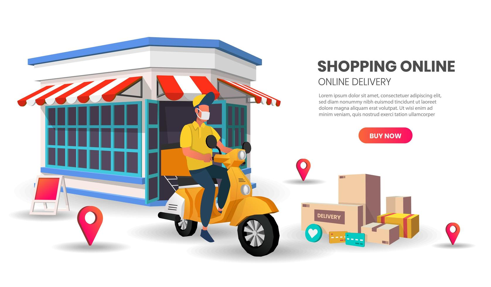 Masked scooter delivery man website template vector